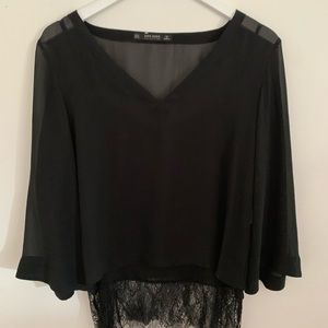 Zara Black Loose Going Out Top | Size M